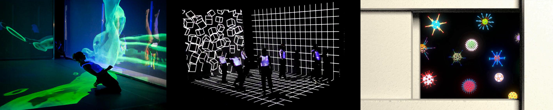 Fotos von Tanzstück Gravitas und Still aus 3-kanaliger Video-Installation für Gravitas von Tarek Assam im taT Studiobühne des Stadttheaters Gießen