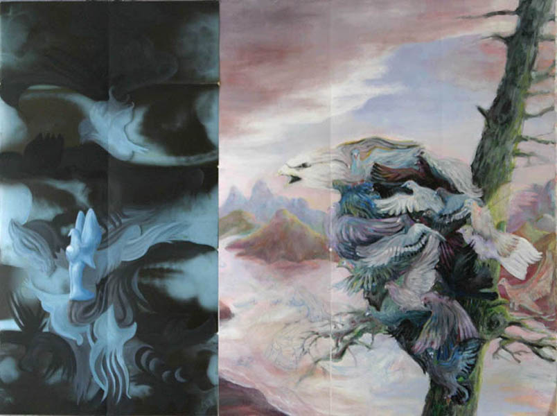 abendland 1 2005 acryl auf roentgenbildern 152 x 201 cm