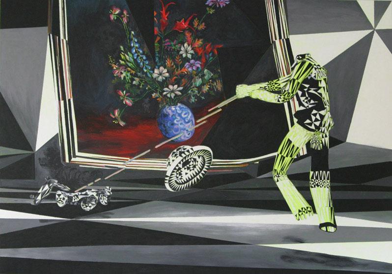bloemenstukje 2004 acryl auf neontuch 140 x 200 cm