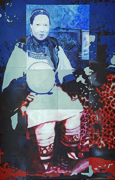 boudoir 2001 acryl auf roentgenbildern 283 x 192 cm