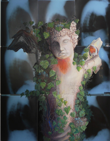 cupido 2013 acryl auf roentgenbildern 129 x 106 cm