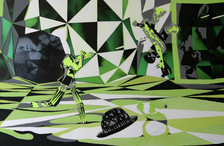danse vide jaune 2004 acryl auf neontuch 120 x 70 cm