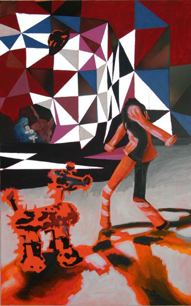 danse vide orange 2004 acryl auf neontuch 120 x 70 cm