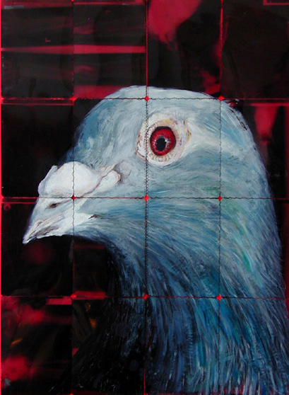 duif links 2005 acryl auf roentgenbildern 94 x 70 cm