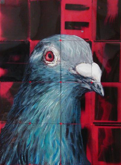 duif rechts 2005 acryl auf roentgenbildern 94 x 70 cm