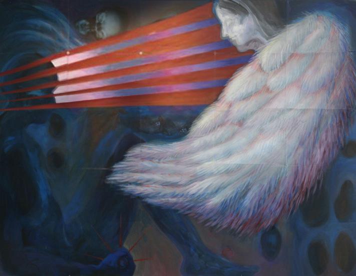 engel 2008 acryl auf roentgenbildern 105 x 140 cm