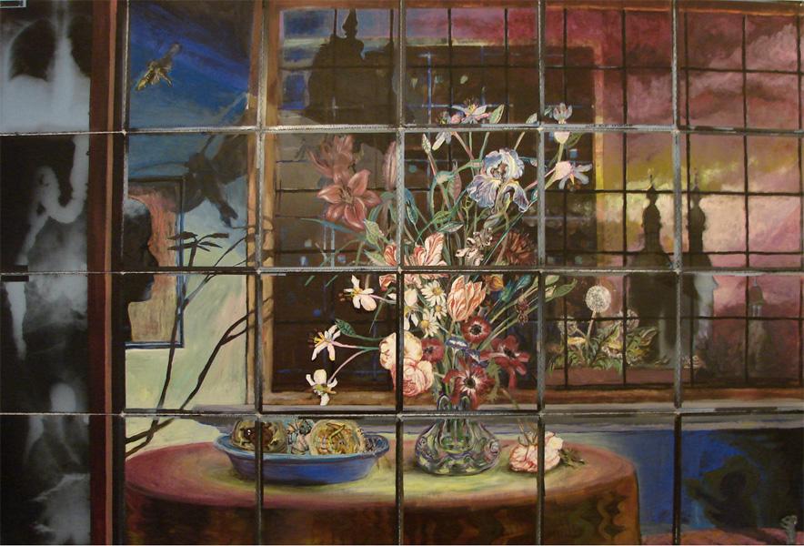 flora koblenza 2003 acryl auf roentgenbildern 142 x 177 cm