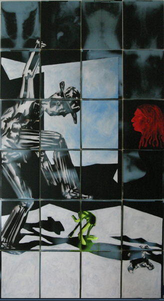 hund und hut 2004 acryl auf roentgenbildern 258 x 142 cm