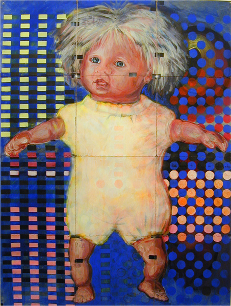 linkshaendlerin 2003 acryl auf roentgenbildern 142 x 106 cm