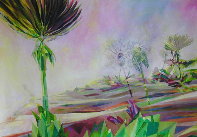 lowpolylandscape 1 2003 acryl auf neontuch 97 x 140 cm