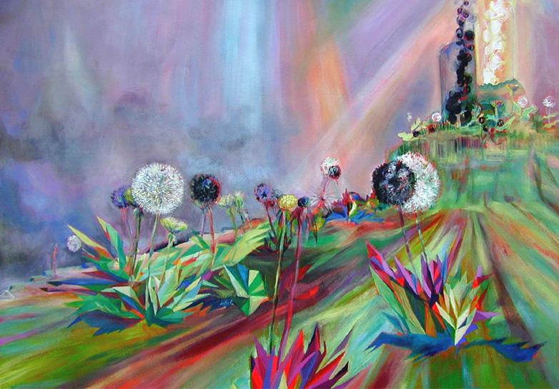 lowpolylandscape 2 2003 acryl auf neontuch 97 x140 cm