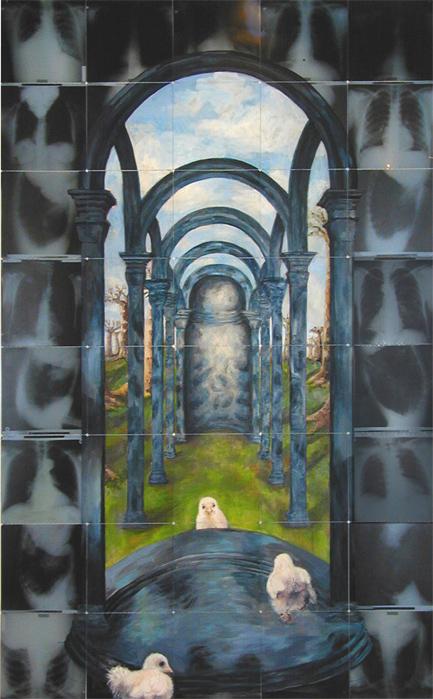 outside your niche 2006 acryl auf roentgenbildern 283 x 177 cm