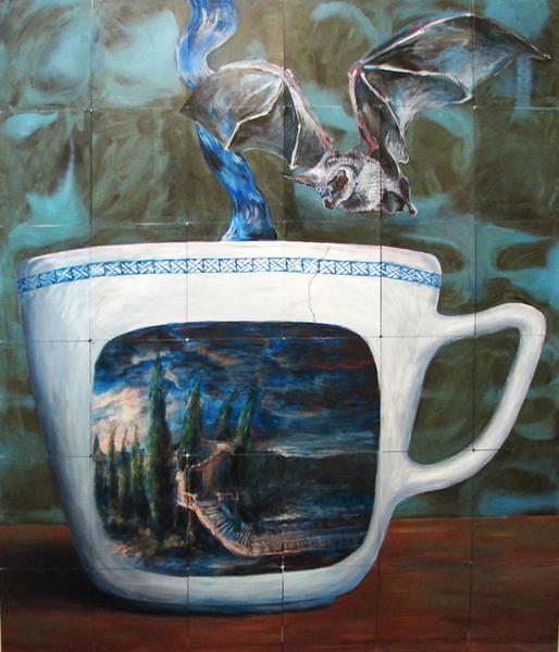 porzellan des abends 2008 acryl auf roentgenbildern 258 x 211 cm