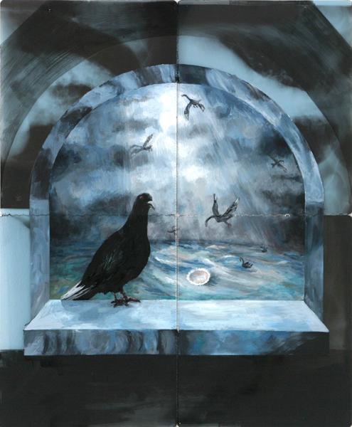 schwarze taube 2005 acryl auf roentgenbildern 86 x 69 cm