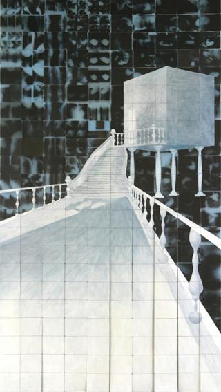 stain before stair 2006 acryl auf roentgenbildern 542 x 297 cm