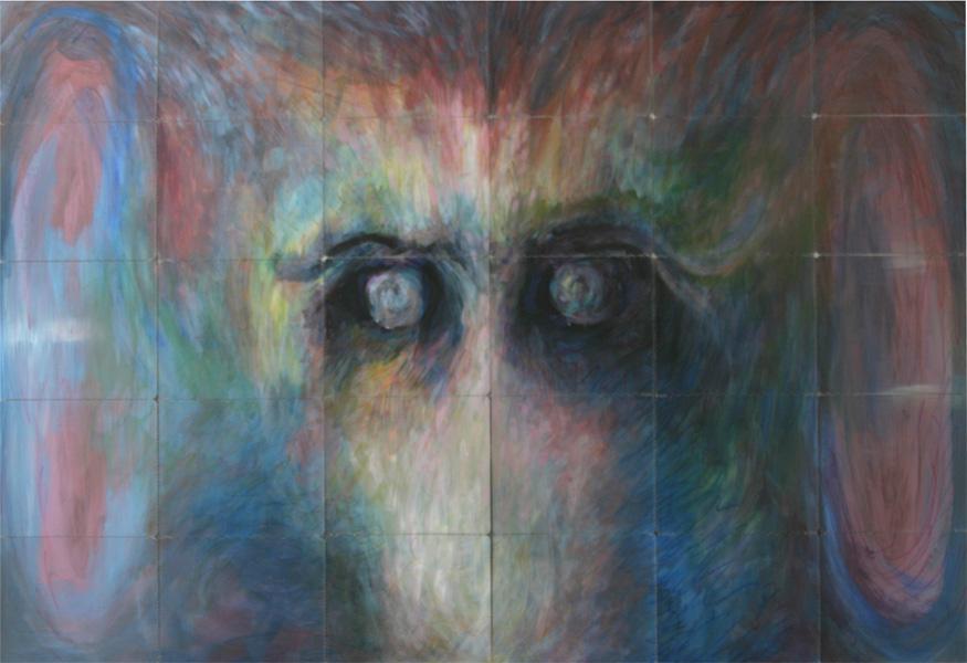 tierblick 2008 acryl auf roentgenbildern 115 x 180 cm