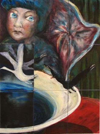 ursuppe 2006 acryl auf roentgenbildern 123 x 105 cm
